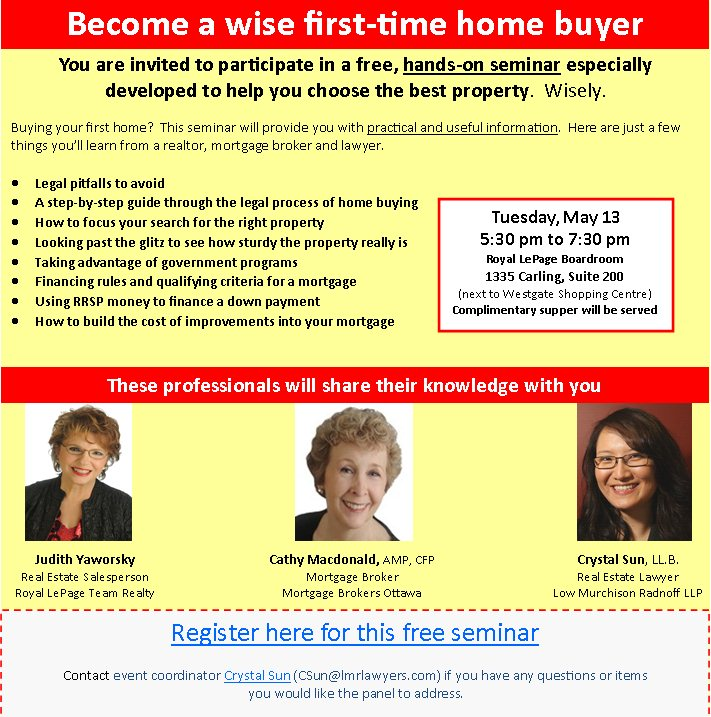 First Time Home Buyers Seminar Judith Yaworsky Judith